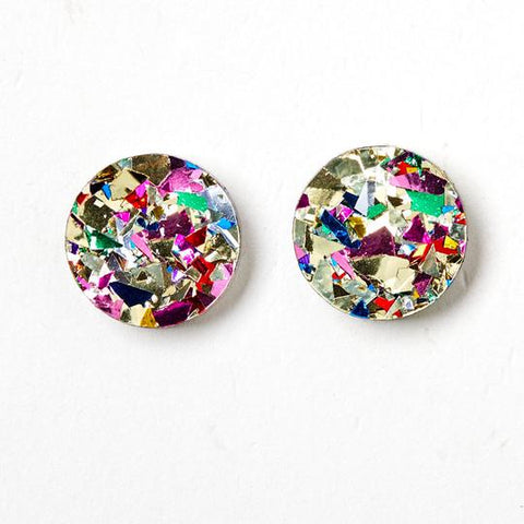 Martha Jean Gold/Confetti Circle Stud Earrings
