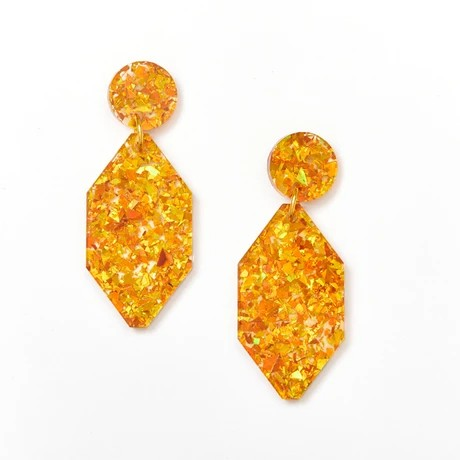 Martha Jean Amber Diamond Earrings on white background