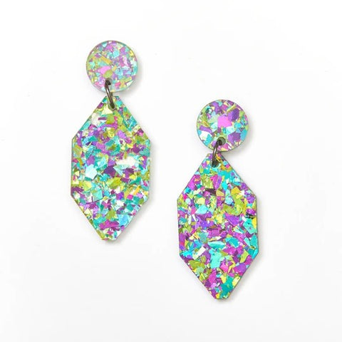 Martha Jean Peacock Diamond Earrings on white background