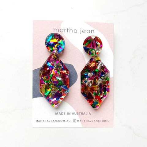 Martha Jean Rainbow Diamond Earrings on white background