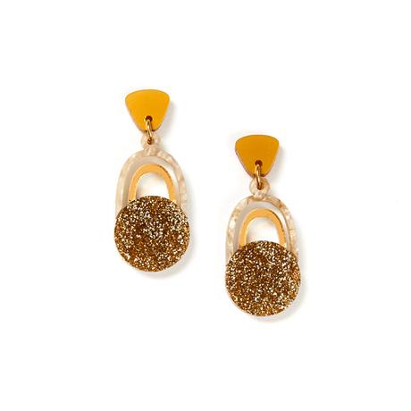 Martha Jean Mustard Gold Solace Earrings on white background