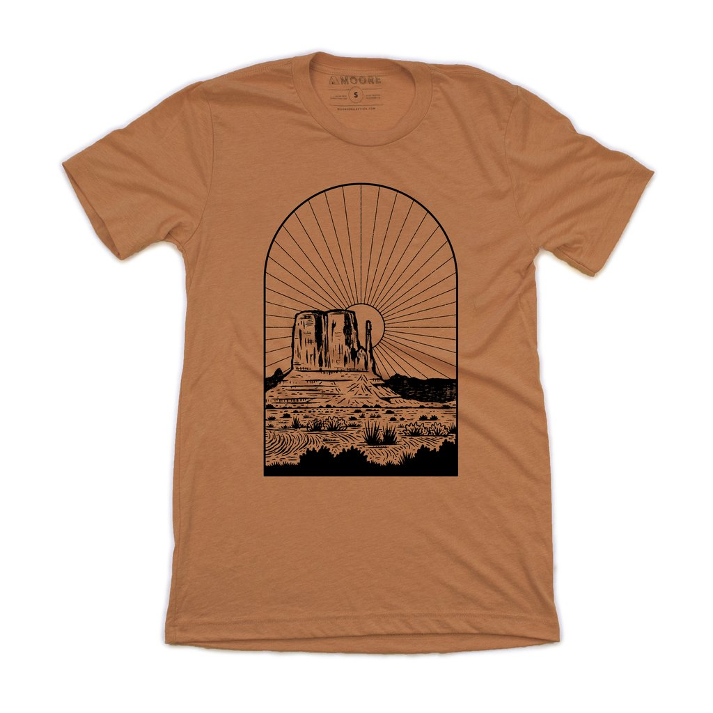 Moore Collection monument sunset tee shirt orange