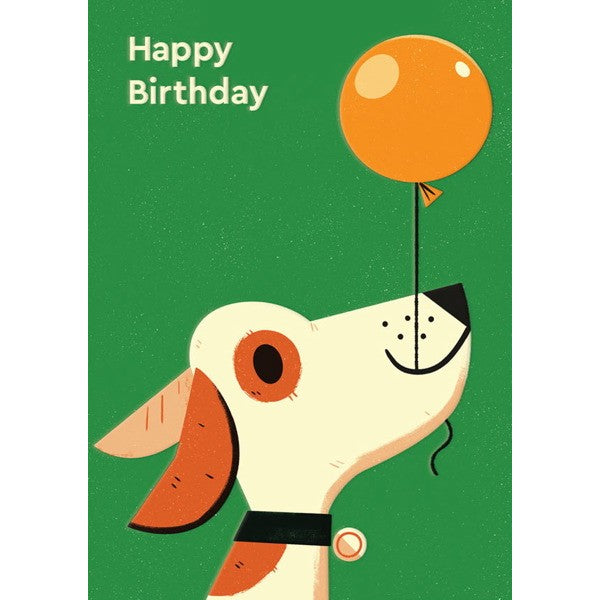"Image is of a green greeting card with an illustration of a dog holding a balloon on a string from its mouth, with the text ""Happy Birthday""."