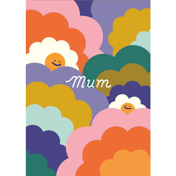 "Image is of a greeting card covered in an illustration of colourful scalloped rainbows, two with smiling faces, and ""Mum"" written in white in the centre."