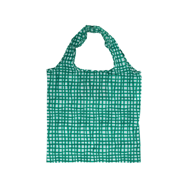 Green and turqoise Project Ten Pocket Shopper in Check print