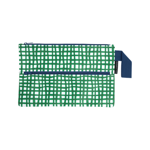 Project Ten pencil case with green and turquoise check print, with navy blue strap and zip