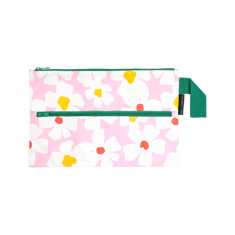 Project Ten pencil case with pink, white, yellow and red Flower Power print, with green strap and zip