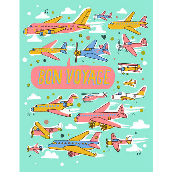 "Image is of a bright turquoise greeting card with lots of colourful pink, blue and yellow aeroplanes, and a speech bubble that reads ""Bon Voyage"""