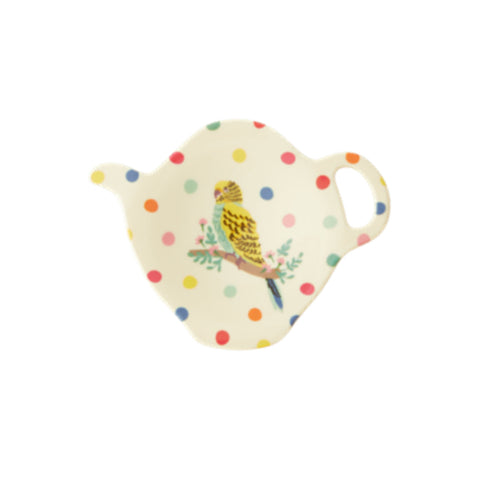 Melamine teapot-shaped teabag plate, printed with an illustrated budgie and polka dots.