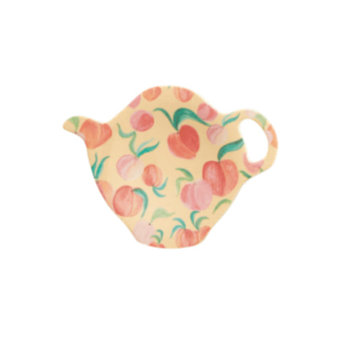 Melamine teapot-shaped teabag plate, with watercolour-style peach print.