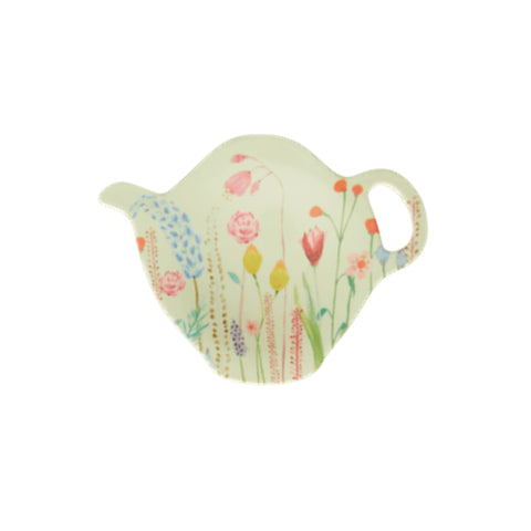 Melamine teapot-shaped teabag plate, with illustrated wildflower print.