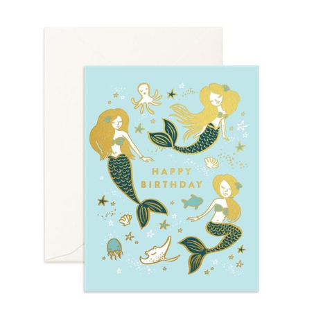Fox & Fallow Mermaids Birthday Card