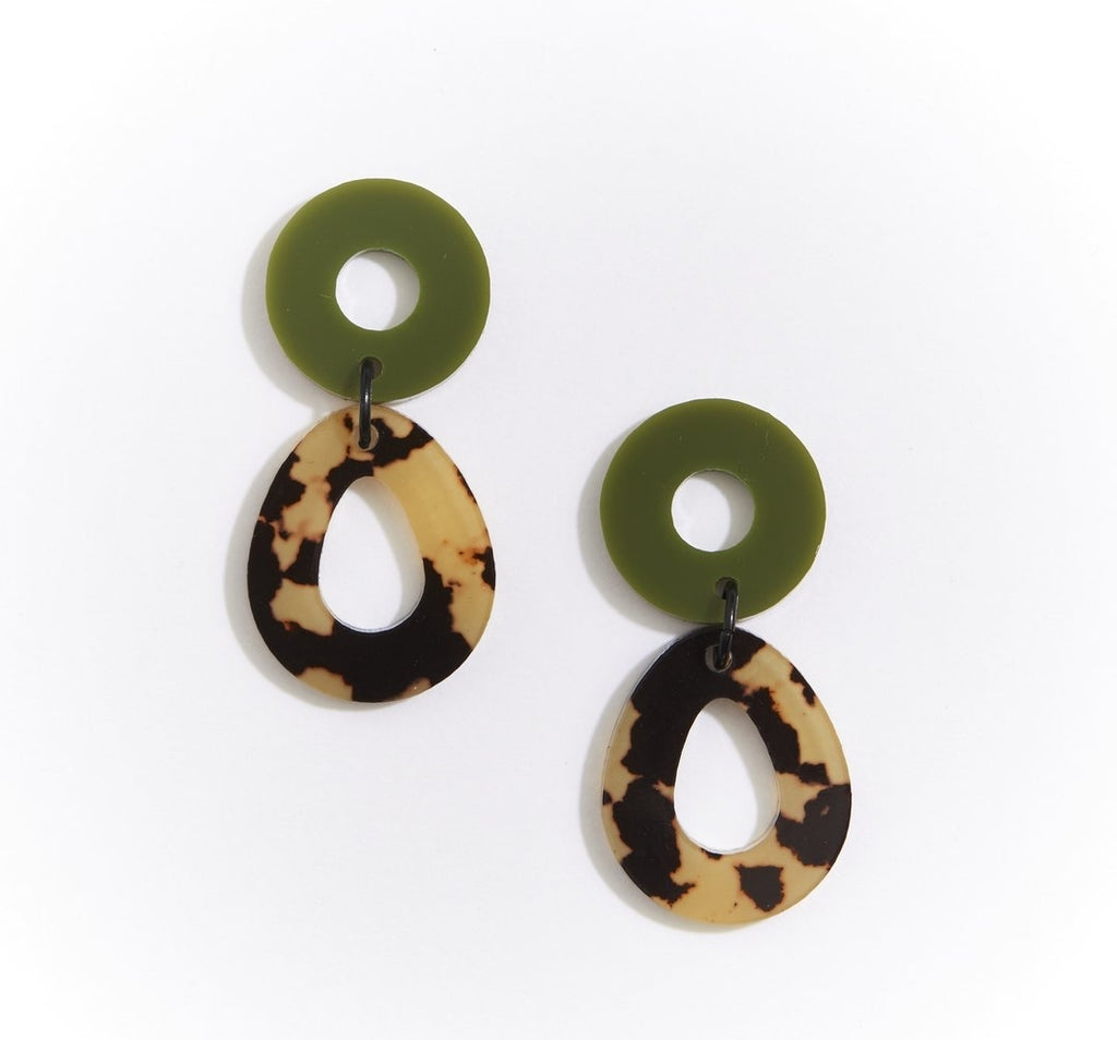 Martha Jean Leopard Light Camelia Earrings