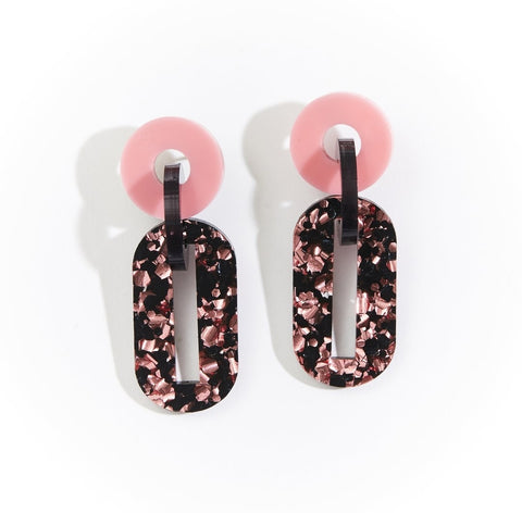 Martha Jean Pink/Black Jigsaw Earrings