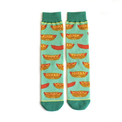 Woven Pear Hello Hot Dog Socks
