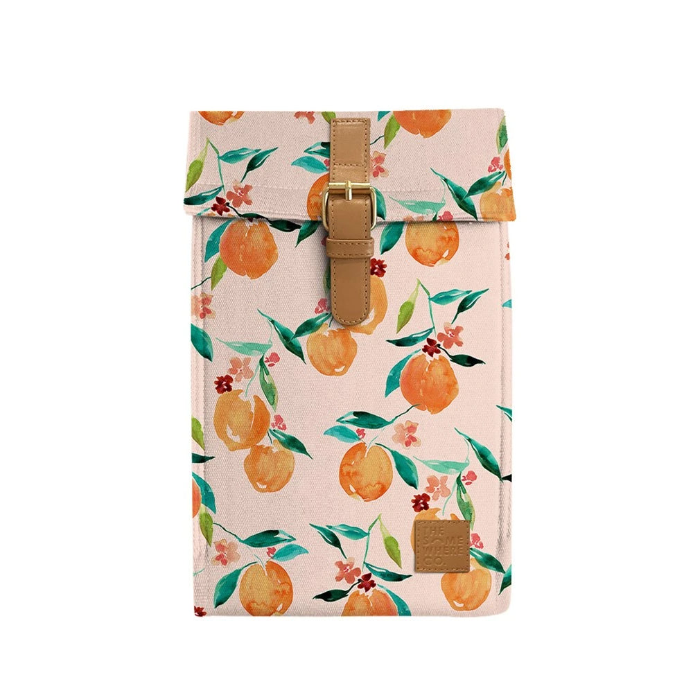 Image is of a pale pink insulated wine bag, with an illustrated watercolour-style orange blossom print, and a faux leather buckle.