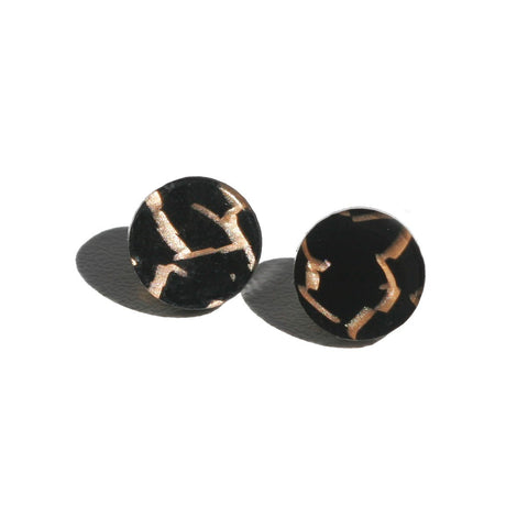 Martha Jean Tiger Black Circle Stud Earrings