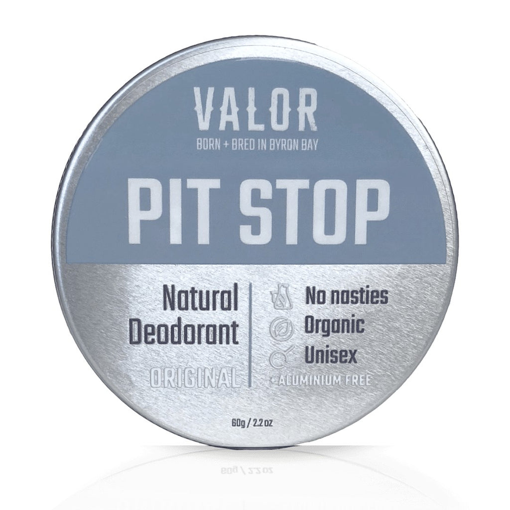 Image is of an upright tin of Pit Stop original unscented deodorant on a white background.