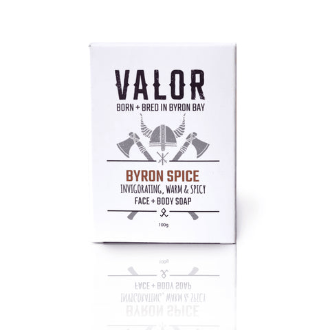 Image is of a white cardboard box containing Valor Byron Spice soap, on a white background.