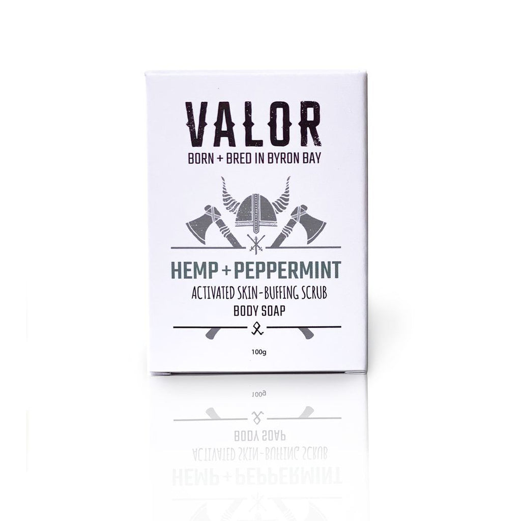 Image is of a white cardboard box containing Valor Hemp and Peppermint soap, on a white background.