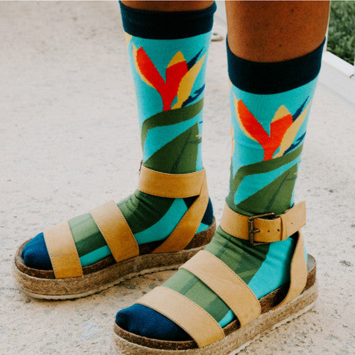 Woven Pear Bird of Paradise Socks
