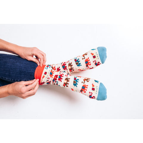 Woven Pear Painted Elephants Socks
