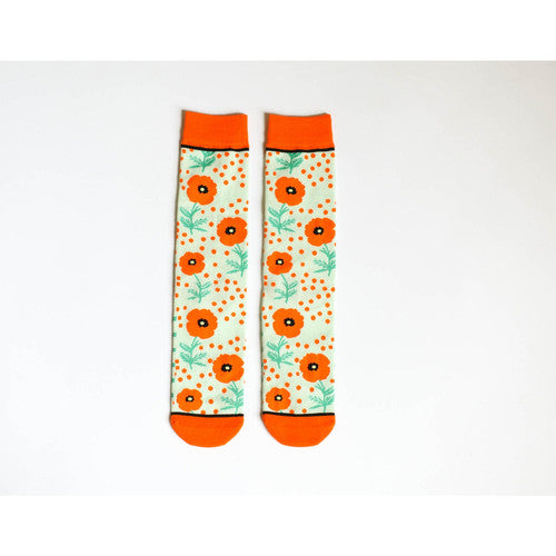 Woven Pear Poppy and Dot Socks