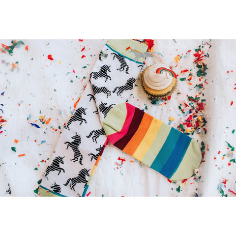 Woven Pear Unicorns and Rainbows Socks