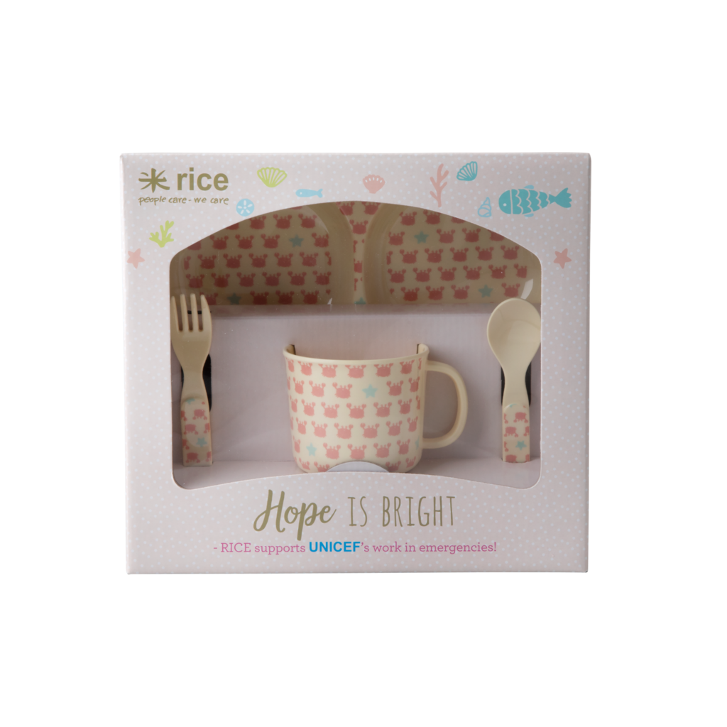Rice Crab & Starfish Melamine Kids' Dinner Set