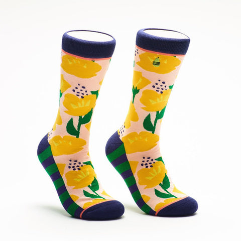 Woven Pear California Poppies Socks