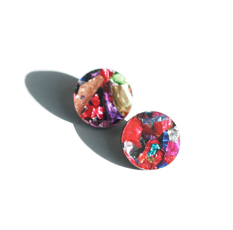 Martha Jean Confetti Circle Stud Earrings