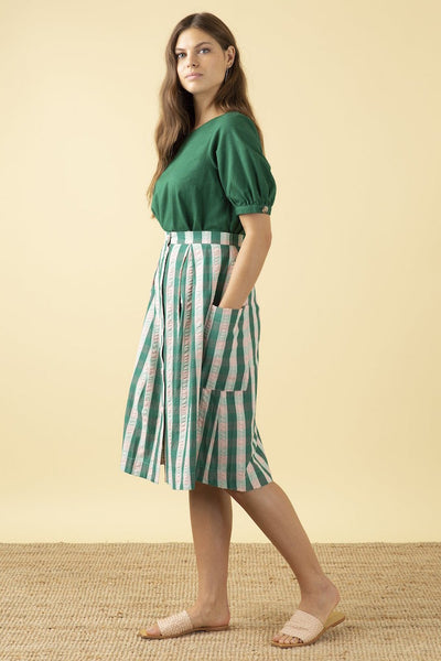 Emily & Fin Viola Botanical Plaid Skirt