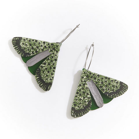 Martha Jean Green Moth Earrings