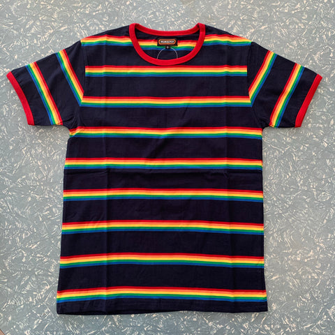 Run and Fly Multi Stripe Rainbow Tee Shirt