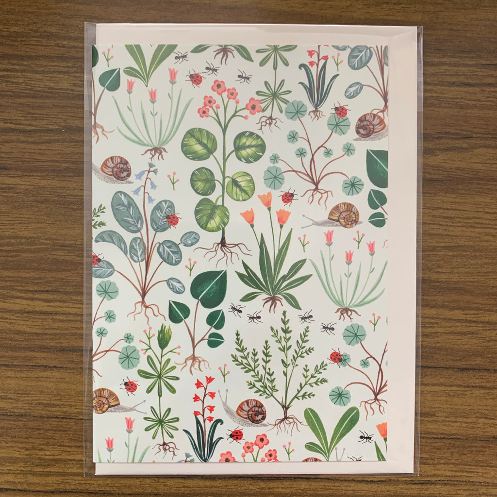 Flora Waycott Green Botanical Card