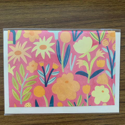 Giant Pansy Pink Wildflowers Card