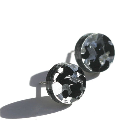 Martha Jean Black Cosmos Mini Circle Stud Earrings