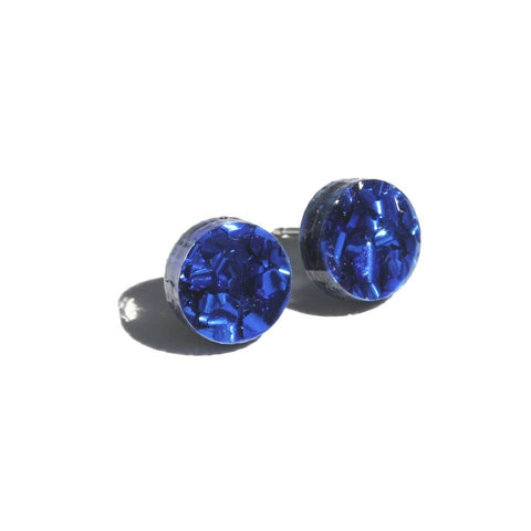Martha Jean Navy Mini Circle Stud Earrings