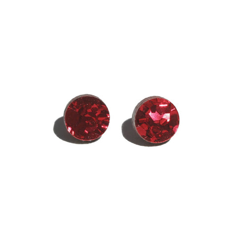 Martha Jean Red Mini Circle Stud Earrings