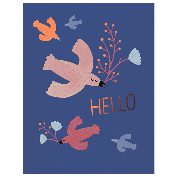 Red Cap Hello Birds Card