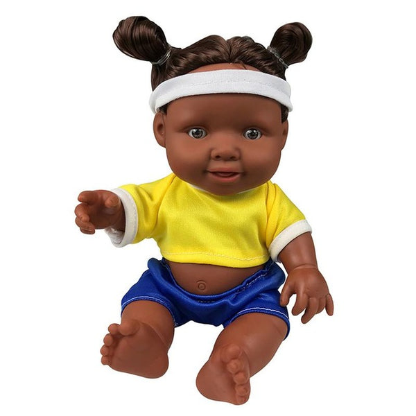 African Black Doll 30CM New Arrival Handmade Silicone Vinyl Adorable Lifelike Toddler Reborn Baby Doll Clothes Hairband