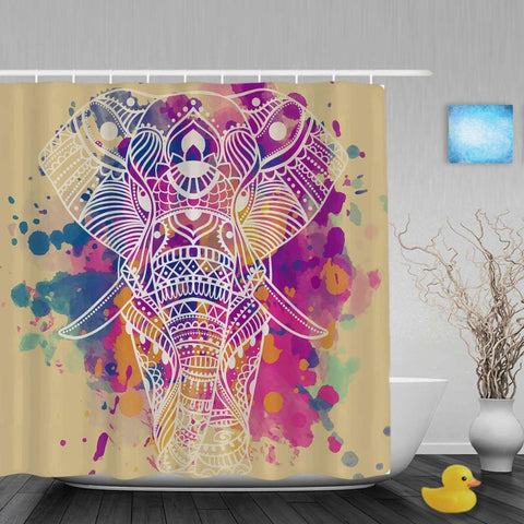 Colourful Elephant Shower Curtain