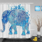 Blue African Elephant Shower Curtains