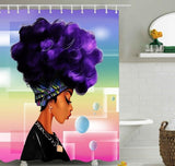Colourful African Woman  Waterproof Shower Curtain
