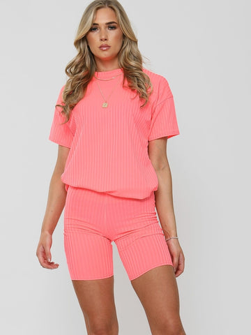Ribbed Oversized T-Shirt & Shorts Co-ord-Neon Pink