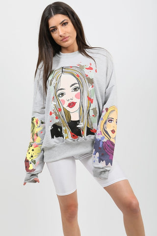 Girl Face Graphic Sweatshirt Jumper-Grey