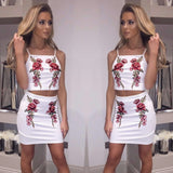 Rose Embroidered Cami Top & Mini Skirt Co Ord Set