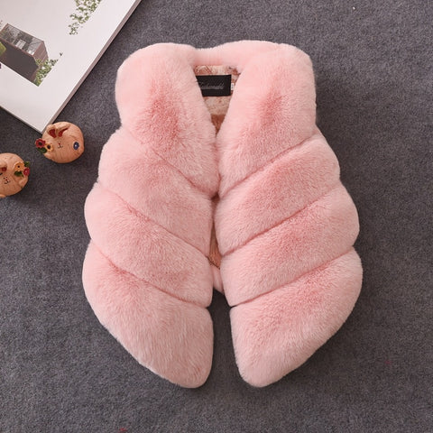 Girls Fur Gilet - Pink