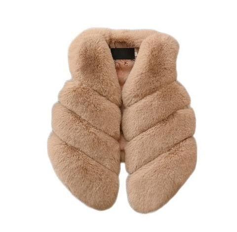 Girls Fur Gilet - Camel