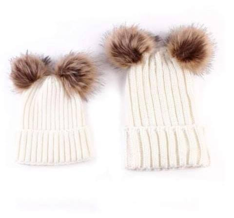 Mother&Baby Daughter/Son Winter Warm Knit Hat White